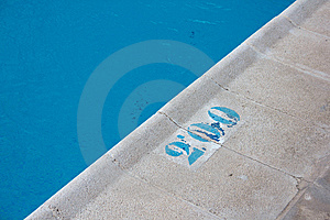 Warning Depth Indication In A Pool Royalty Free Stock Image - Image: 14421576