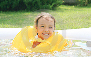 Girl In The Rescue Life Buoys Royalty Free Stock Images - Image: 14421609
