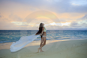 Woman On Lanikai Beach At Sunrise Stock Photo - Image: 14424090