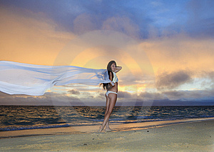 Woman On Lanikai Beach At Sunrise Royalty Free Stock Images - Image: 14424149