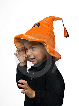 Boy Scares Somebody On Halloween Stock Photos - Image: 14427463