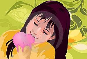 Girl Enjoying An Ice Cream Cone Royalty Free Stock Photos - Image: 14428078