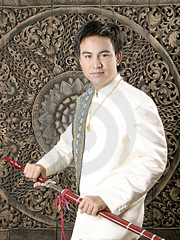 Thai Man In Silk Dress Royalty Free Stock Photos - Image: 14428628
