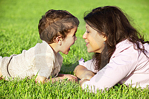 Mother Playing With Her Son Outdoor Stock Photography - Image: 14431702