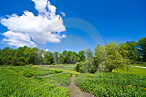 Sky With Clouds And The Green Field Royalty Free Stock Photos - Image: 14435768