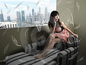 Surreal Girl With Abstract Wings Sitting Stock Image - Image: 14435911