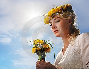Woman With Dandelion Flowers Royalty Free Stock Images - Image: 14438459