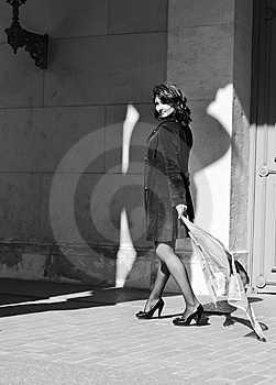 Beautiful Woman With A Waving Handkerchief Stock Photo - Image: 14438680