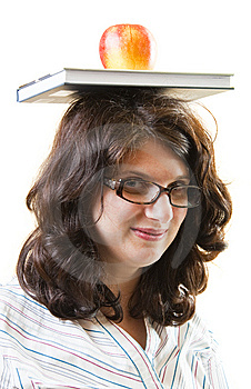 Woman With Book And Apple In Equilibrium Royalty Free Stock Photo - Image: 14441165