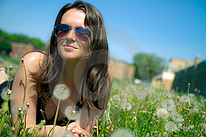 Girl Laying Down In Grass Stock Photography - Image: 14442532