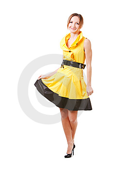 Young Pretty Girl In Yellow Dress Royalty Free Stock Photos - Image: 14448678