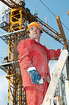 Builder At Construction Site Royalty Free Stock Image - Image: 14449216