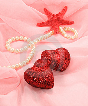 Two Brilliant Hearts And Starfish Royalty Free Stock Images - Image: 14450139