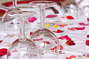 Glasses On A Table A White Tablecloth Royalty Free Stock Photos - Image: 14451838