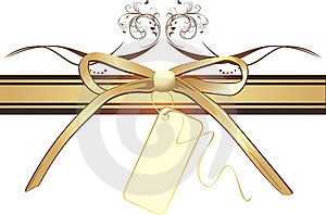 Golden Bow With Card On The Decorative Ribbon Royalty Free Stock Images - Image: 14452389