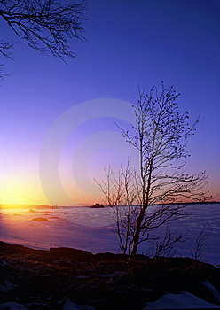 Snowy Lake At Sunset Royalty Free Stock Photo - Image: 14452685