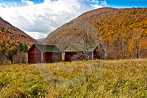 Two Barns In A Field Stock Photo - Image: 14453930