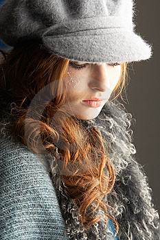 Teenage Girl Wearing Cap And Knitwear In Studio Stock Images - Image: 14455104