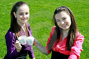 Young Businesswomen Drinking Tea And Talking Stock Image - Image: 14456061