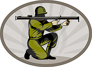 Soldier Aiming A Bazooka Stock Photography - Image: 14458042