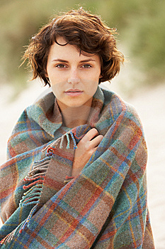 Woman Standing In Sand Dunes Wrapped In Blanket Royalty Free Stock Image - Image: 14459046