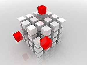 White And Three Red 3d Blocks Stock Photography - Image: 14459322