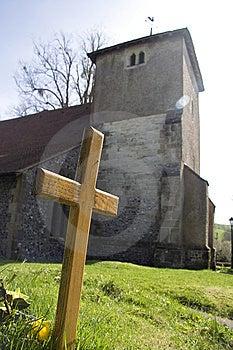 Cross And Church Stock Photo - Image: 14460850