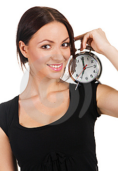 Beautiful Young Woman With Vintage Alarm Clock Stock Images - Image: 14461044
