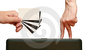 Fingers Are Going To Contrast Business Card In Han Stock Image - Image: 14463301