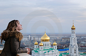 Girl And Religion. Cathedral. Rostov-on-Don. Royalty Free Stock Photos - Image: 14465438