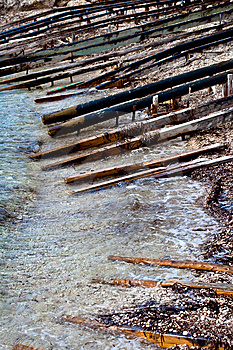 Wooden Poles On The Sea Royalty Free Stock Photos - Image: 14471598