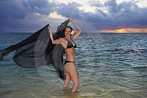 Forty Year Old Woman In The Ocean Royalty Free Stock Photo - Image: 14472775