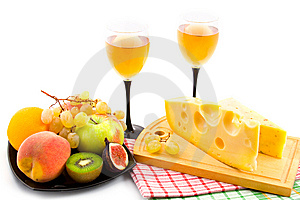Wine, Cheese And Fruits Stock Photography - Image: 14473592