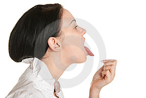 Young Woman Stick One's Tongue Out Royalty Free Stock Photography - Image: 14474437