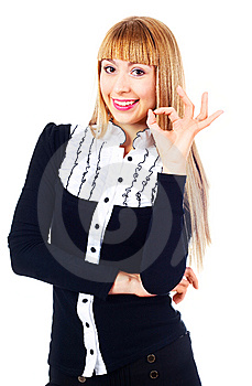 Businesswoman Showing OK Stock Photo - Image: 14474610