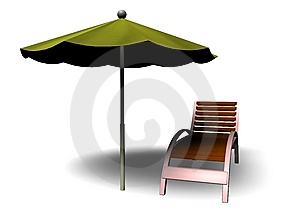 Beach Parasol And Deckchair Royalty Free Stock Photo - Image: 14478885