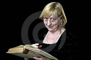 Happy Senior Woman With Book And Glasses On Black Royalty Free Stock Photos - Image: 14481298