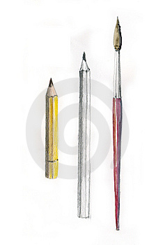Brush And Pencils Royalty Free Stock Photos - Image: 14483978