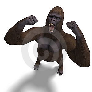 Gorilla Roaring. 3D Rendering With Clipping Path Stock Photos - Image: 14485043