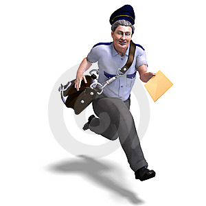 Very Sweet Postman Running To You. 3D Rendering Stock Photos - Image: 14485093