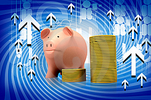 Piggy Bank And Gold Coins Royalty Free Stock Photography - Image: 14486307