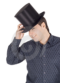 Cheerful Man In Top Hat (cylinder) Royalty Free Stock Photo - Image: 14490085