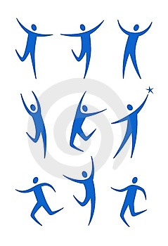 Stylized Blue Human Figures Royalty Free Stock Photos - Image: 14491738