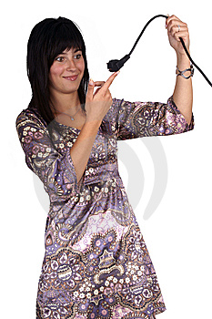 Woman Holding A Power Plug Stock Images - Image: 14496954