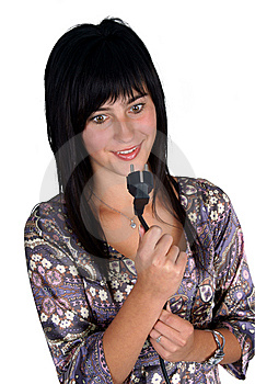 Woman Looking At The Power Plug Royalty Free Stock Photos - Image: 14496968