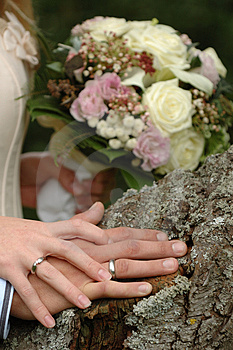 Hands, Rings And Bouquet Stock Photos - Image: 1453693