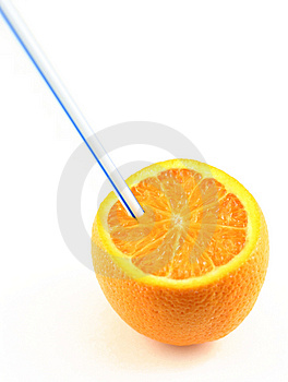 Orange Juice Drunk Directly From The Fruit Royalty Free Stock Photography - Image: 1458817