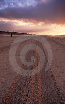 Tire Tracks On The Beach Royalty Free Stock Photography - Image: 1459997