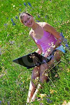 Successful Girl Outdoors Stock Images - Image: 14500414