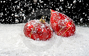 Snow Falling On Two Red Ornaments Royalty Free Stock Photo - Image: 14505195